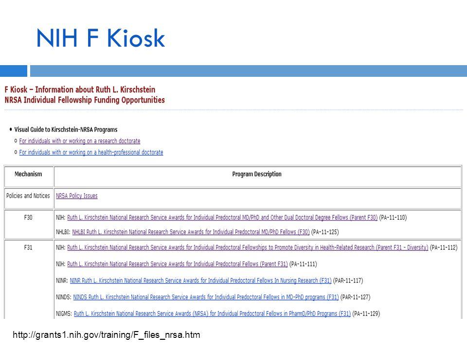 NIH F Kiosk http://grants1.nih.gov/training/F_files_nrsa.htm