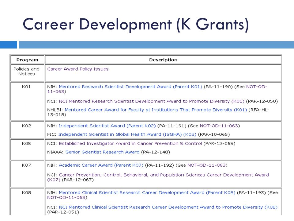Career Development (K Grants)