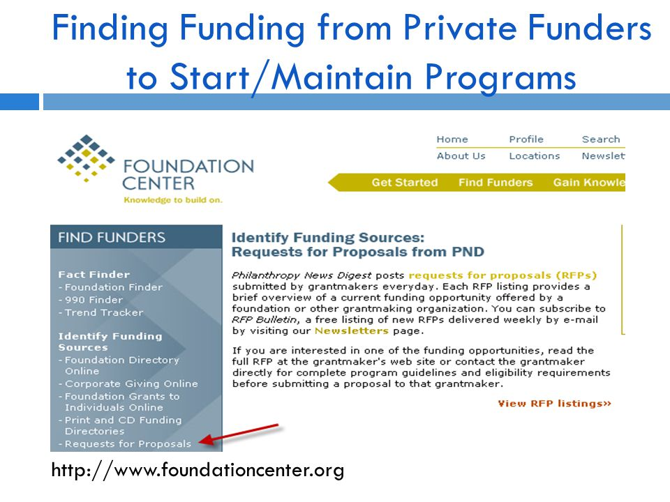 Finding Funding from Private Funders to Start/Maintain Programs http://www.foundationcenter.org