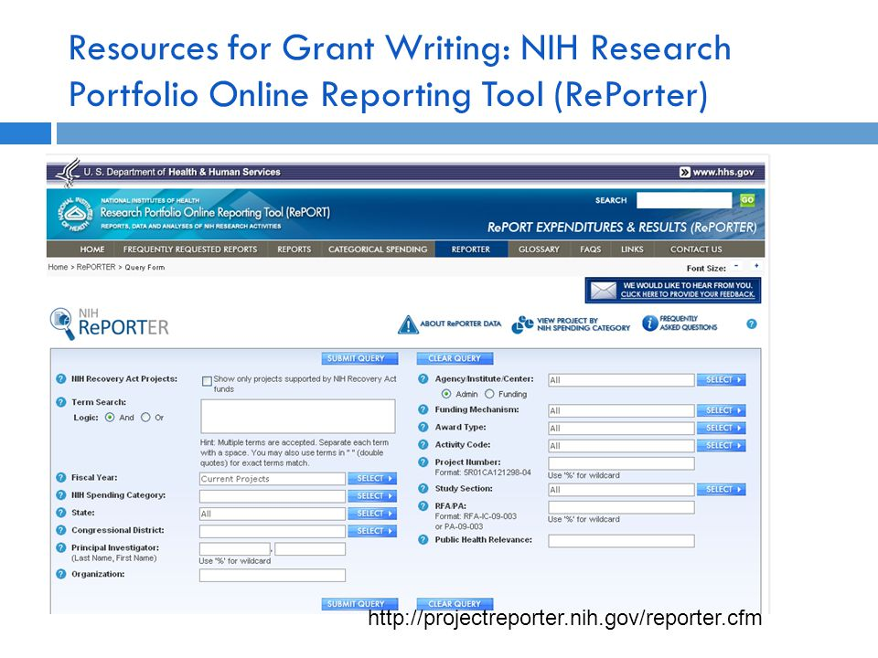 Resources for Grant Writing: NIH Research Portfolio Online Reporting Tool (RePorter) http://projectreporter.nih.gov/reporter.cfm