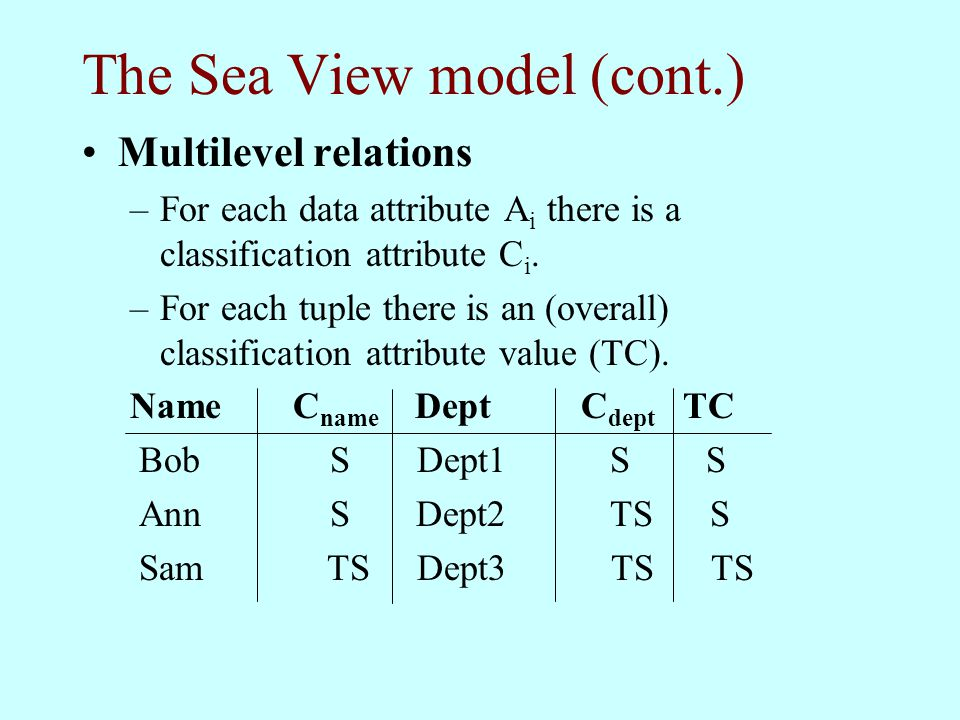 The Sea View model (cont.) Multilevel relations –For each data attribute A i there is a classification attribute C i. –For each tuple there is an (ove