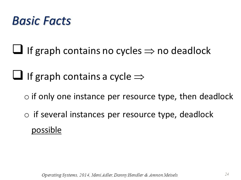 Basic Facts  If graph contains no cycles  no deadlock  If graph contains a cycle  o if only one instance per resource type, then deadlock o if several instances per resource type, deadlock possible Operating Systems, 2014, Meni Adler, Danny Hendler & Amnon Meisels 24