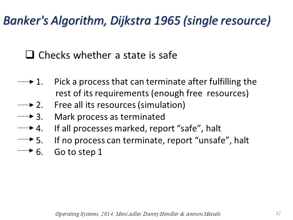 Banker s Algorithm, Dijkstra 1965 (single resource)  Checks whether a state is safe 1.Pick a process that can terminate after fulfilling the rest of its requirements (enough free resources) 2.Free all its resources (simulation) 3.Mark process as terminated 4.If all processes marked, report safe , halt 5.If no process can terminate, report unsafe , halt 6.Go to step 1 Operating Systems, 2014, Meni Adler, Danny Hendler & Amnon Meisels 32