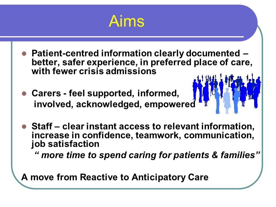Aims Patient-centred information clearly documented – better, safer experience, in preferred place of care, with fewer crisis admissions Carers - feel supported, informed, involved, acknowledged, empowered Staff – clear instant access to relevant information, increase in confidence, teamwork, communication, job satisfaction more time to spend caring for patients & families A move from Reactive to Anticipatory Care