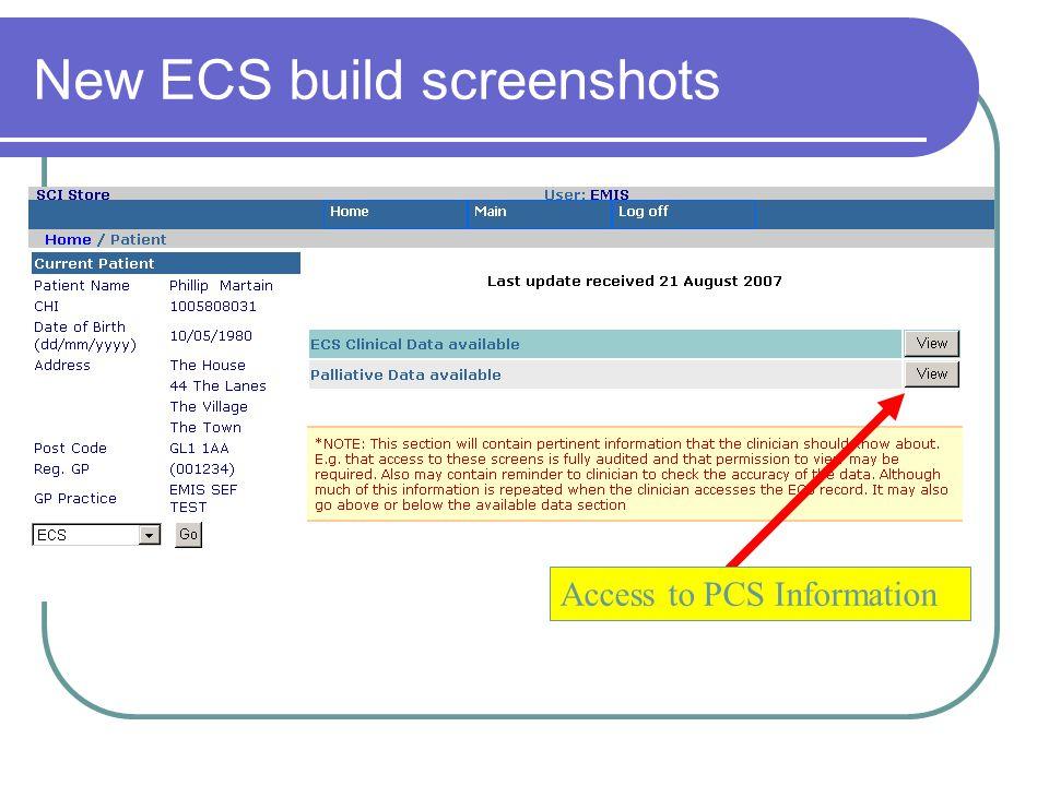New ECS build screenshots Access to PCS Information