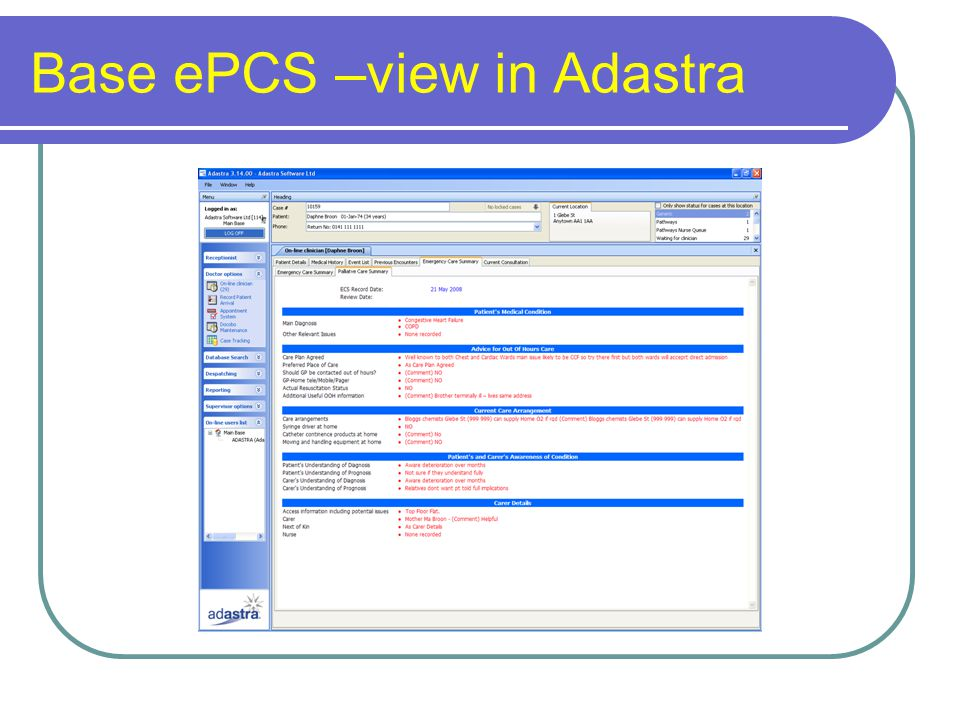 Base ePCS –view in Adastra
