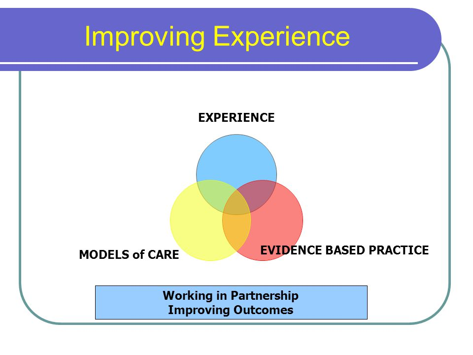 Improving Experience EXPERIENCE EVIDENCE BASED PRACTICE MODELS of CARE Working in Partnership Improving Outcomes