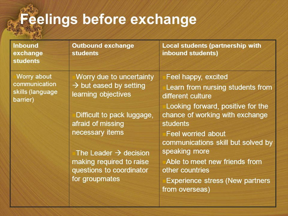 15 Feelings before exchange Inbound exchange students Outbound exchange students Local students (partnership with inbound students) Worry about communication skills (language barrier) Worry due to uncertainty  but eased by setting learning objectives Difficult to pack luggage, afraid of missing necessary items The Leader  decision making required to raise questions to coordinator for groupmates Feel happy, excited Learn from nursing students from different culture Looking forward, positive for the chance of working with exchange students Feel worried about communications skill but solved by speaking more Able to meet new friends from other countries Experience stress (New partners from overseas)