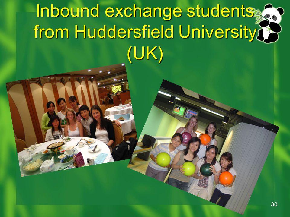 30 Inbound exchange students from Huddersfield University (UK)