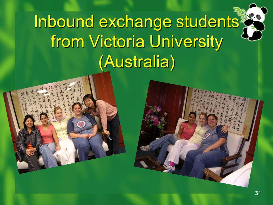 31 Inbound exchange students from Victoria University (Australia)