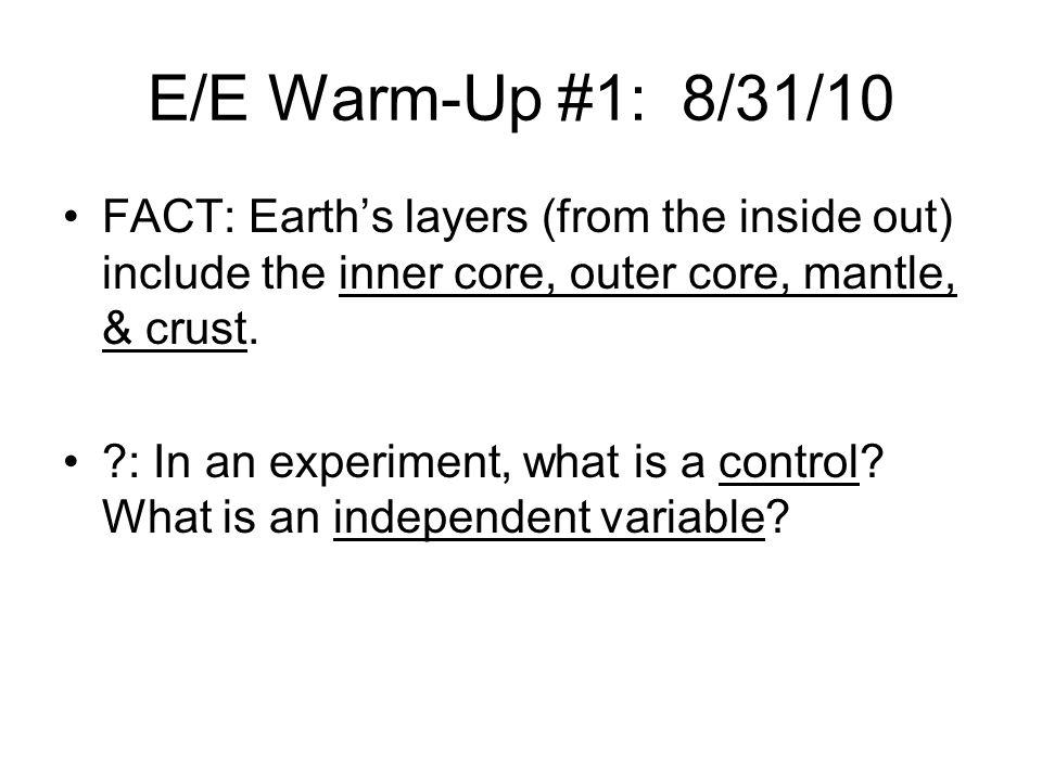 E/E Warm-Up #1: 11/2/10 FACT: Tides are the periodic rise and fall of sea level.
