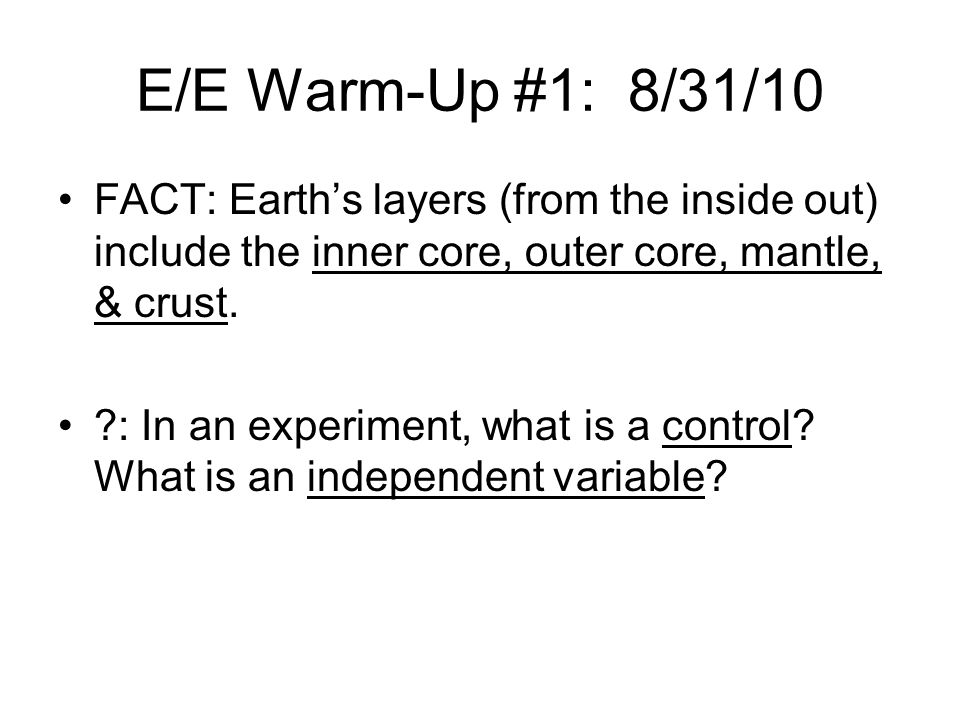 E/E Warm-Up #2: 11/9/10 FACT: Seneca guns are extremely loud booms heard, usually along coastal areas.