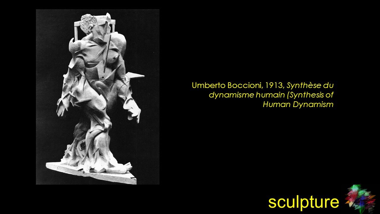 sculpture Umberto Boccioni, 1913, Synthèse du dynamisme humain (Synthesis of Human Dynamism