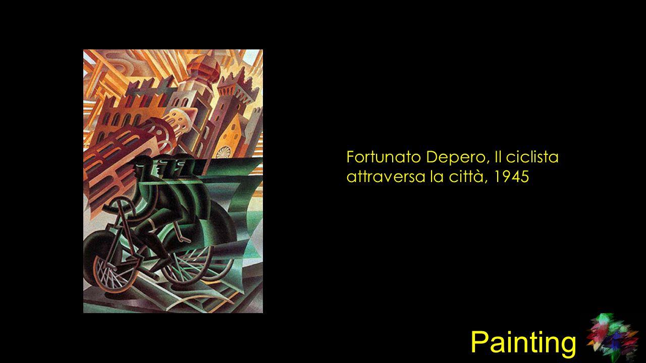 Painting Fortunato Depero, Il ciclista attraversa la città, 1945