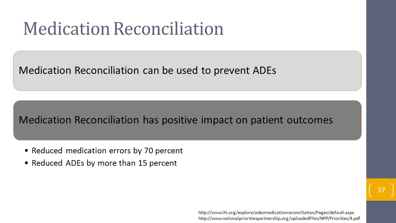 Medication Reconciliation Medication Reconciliation can be used to prevent ADEsMedication Reconciliation has positive impact on patient outcomes Reduced medication errors by 70 percent Reduced ADEs by more than 15 percent http://www.ihi.org/explore/adesmedicationreconciliation/Pages/default.aspx http://www.nationalprioritiespartnership.org/uploadedFiles/NPP/Priorities/4.pdf 37