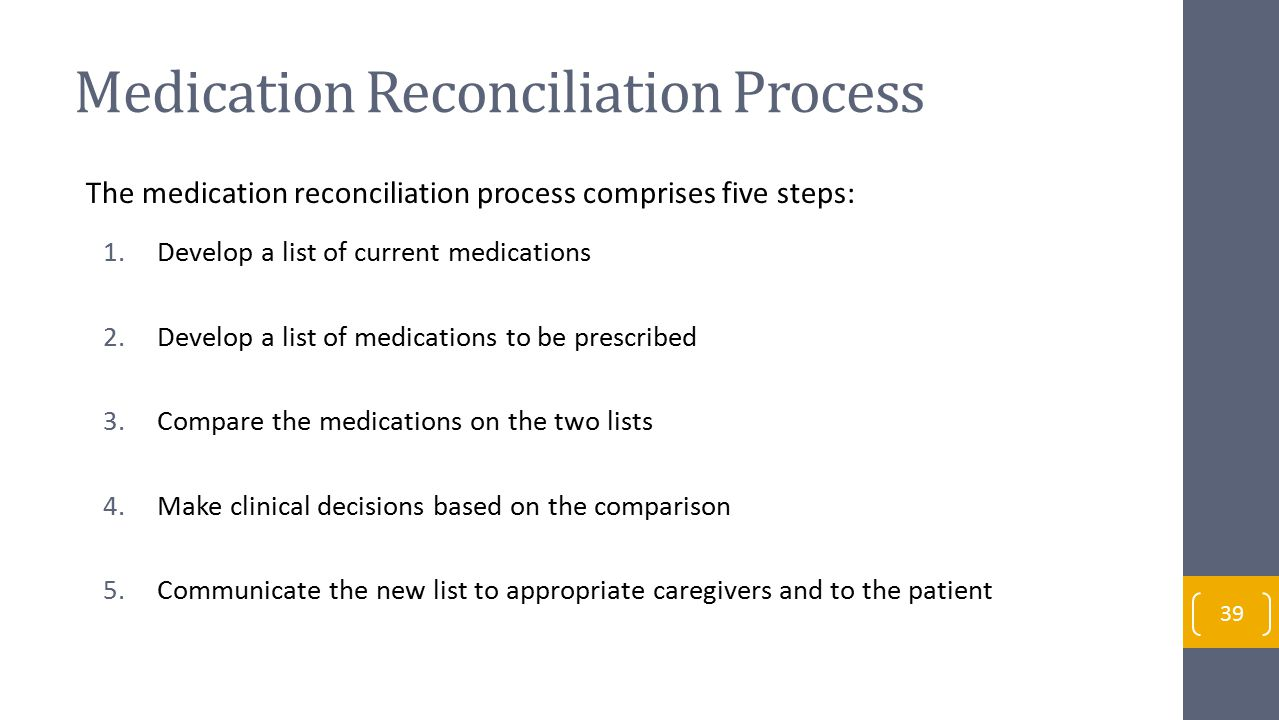 Medication Reconciliation Process The medication reconciliation process comprises five steps: 1.Develop a list of current medications 2.Develop a list of medications to be prescribed 3.Compare the medications on the two lists 4.Make clinical decisions based on the comparison 5.Communicate the new list to appropriate caregivers and to the patient 39