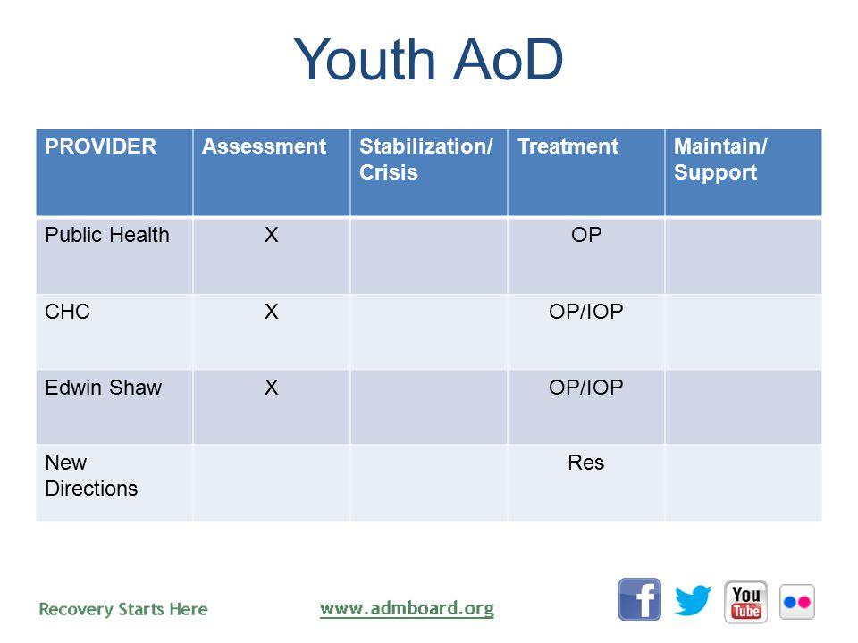 Youth AoD PROVIDERAssessmentStabilization/ Crisis TreatmentMaintain/ Support Public HealthXOP CHCXOP/IOP Edwin ShawXOP/IOP New Directions Res