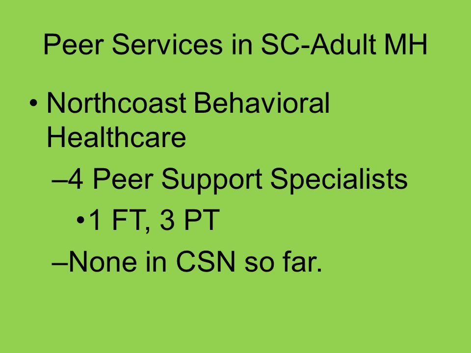 Peer Services in SC-Adult MH Northcoast Behavioral Healthcare –4 Peer Support Specialists 1 FT, 3 PT –None in CSN so far.