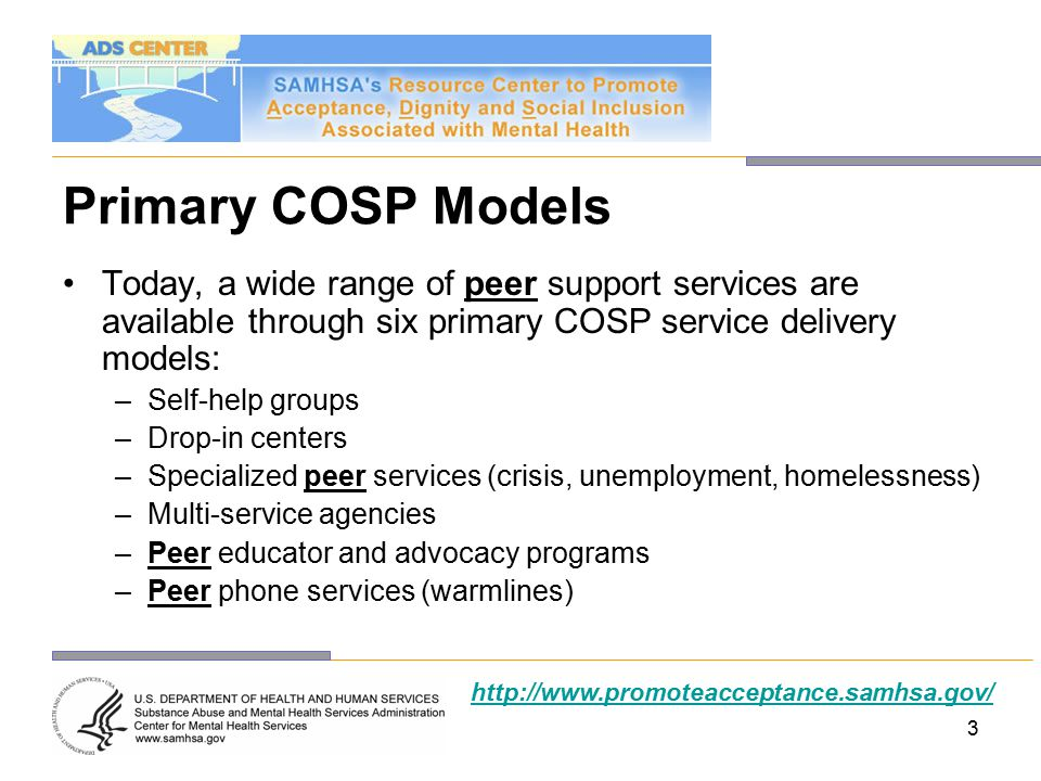 Primary COSP Models Today, a wide range of peer support services are available through six primary COSP service delivery models: –Self-help groups –Drop-in centers –Specialized peer services (crisis, unemployment, homelessness) –Multi-service agencies –Peer educator and advocacy programs –Peer phone services (warmlines) http://www.promoteacceptance.samhsa.gov/ 3