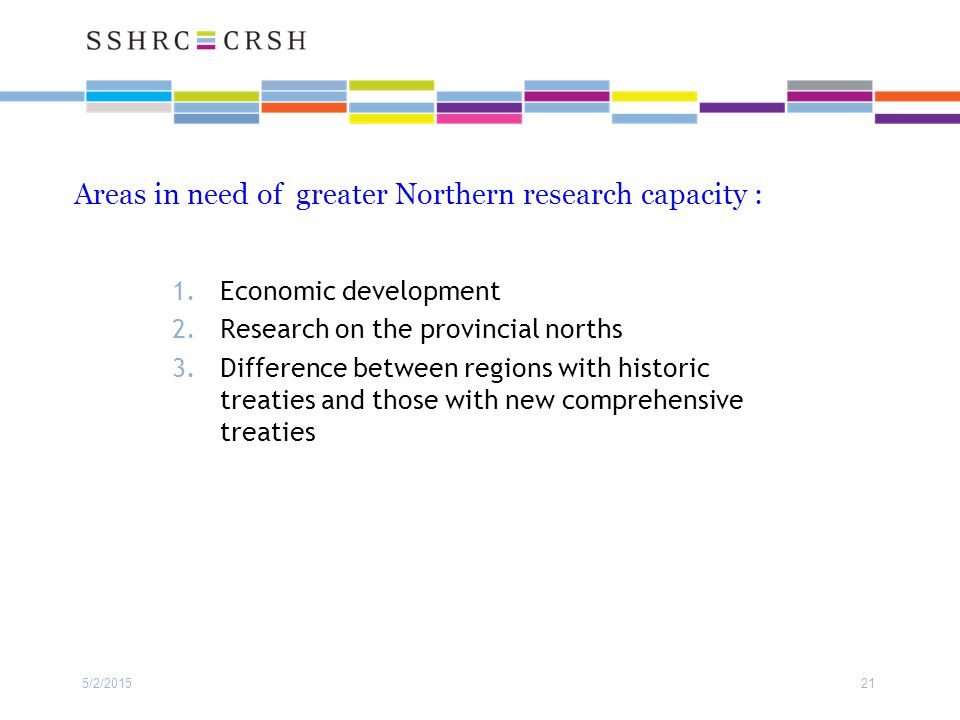 Areas in need of greater Northern research capacity : 1.Economic development 2.Research on the provincial norths 3.Difference between regions with his