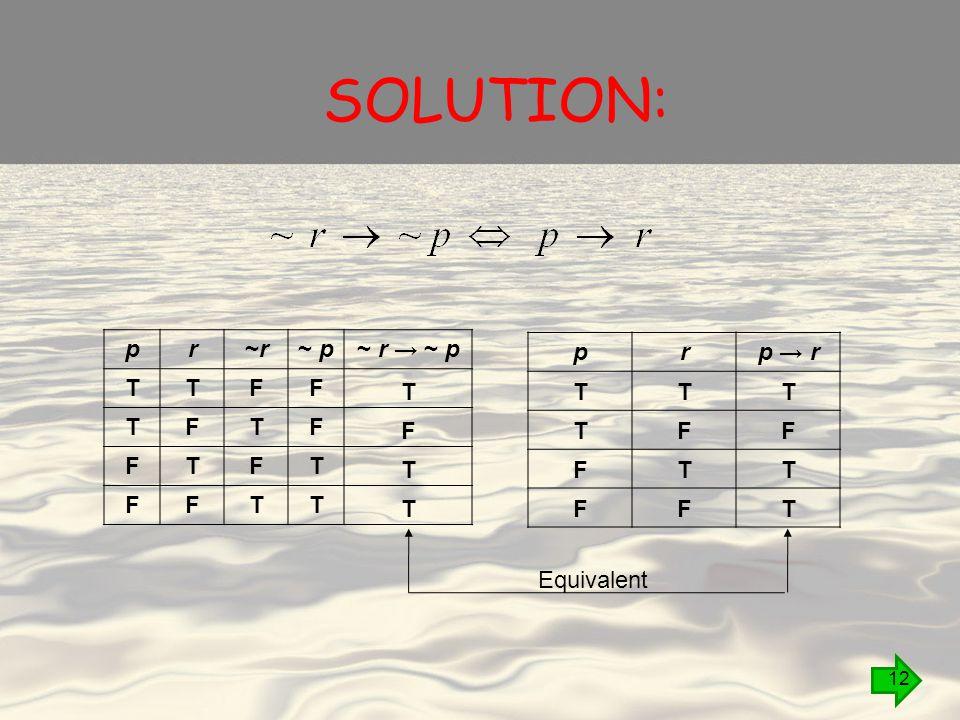 SOLUTION: pr~r~r~ p~ p~ r → ~ p~ r → ~ p T T F F T F T F F T F T F F T T T F T T prp → r T T F F T F T F T F T T Equivalent 12