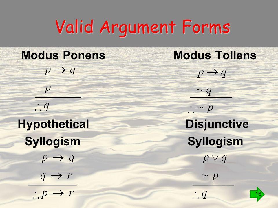 Valid Argument Forms Modus Ponens Modus Tollens Hypothetical Disjunctive Syllogism 16