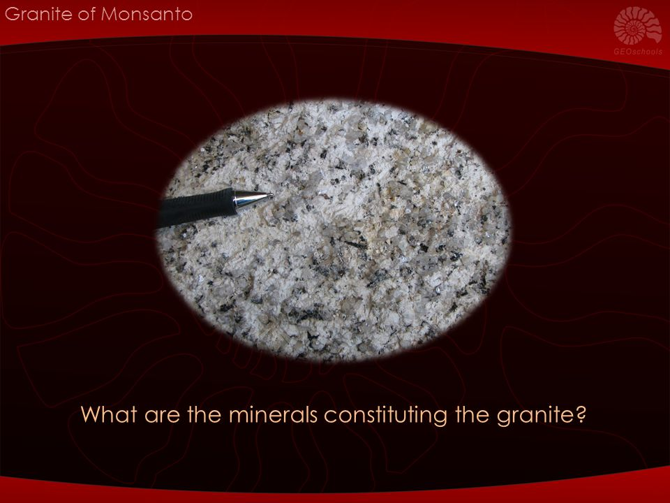 Granite of Monsanto What are the minerals constituting the granite