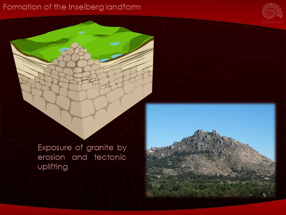 Formation of the Inselberg landform Exposure of granite by erosion and tectonic uplifting