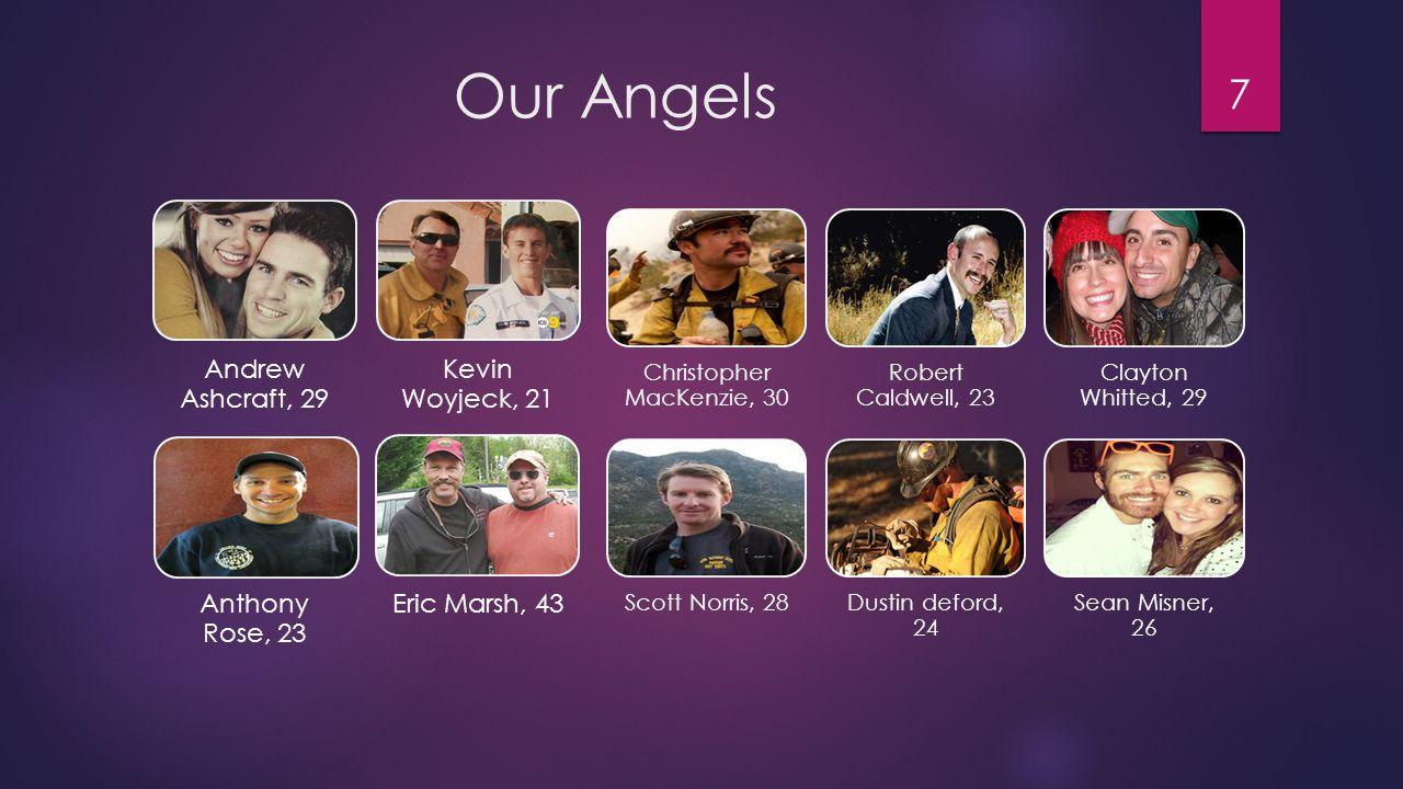 Our Angels 8 Garret Zuppiger, 27 Grant McKee, 21 Joe Thurston, 32 Travis Carter, 31 Travis Turbyfill, 27 Jesse Steed, 36 Wade Parker, 22 William Warneke, 25 John Percin, 24