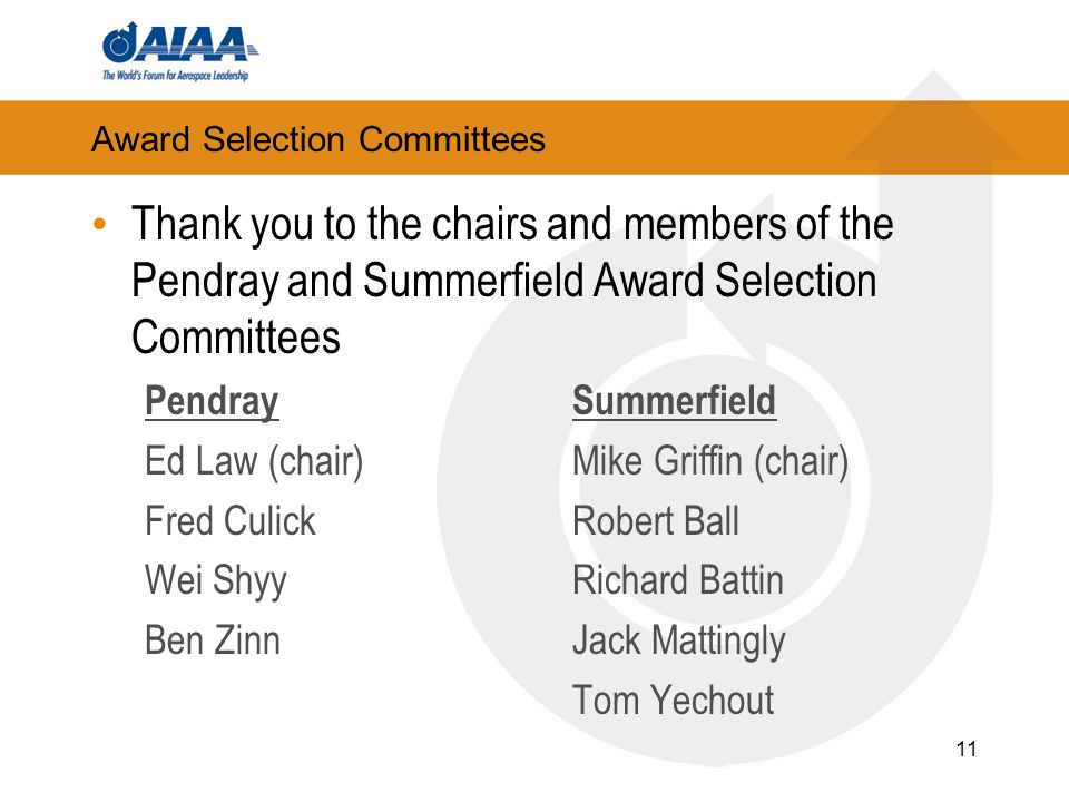 Award Selection Committees Thank you to the chairs and members of the Pendray and Summerfield Award Selection Committees PendraySummerfield Ed Law (ch