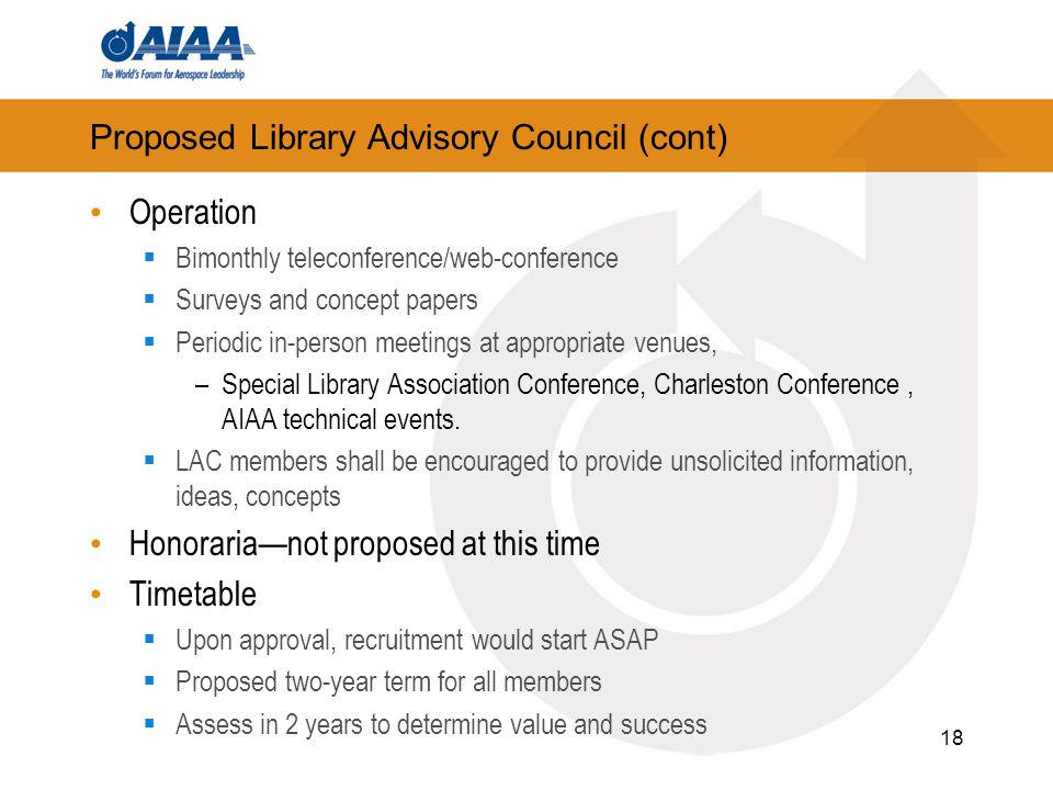 Proposed Library Advisory Council (cont) Operation  Bimonthly teleconference/web-conference  Surveys and concept papers  Periodic in-person meetings at appropriate venues, –Special Library Association Conference, Charleston Conference, AIAA technical events.