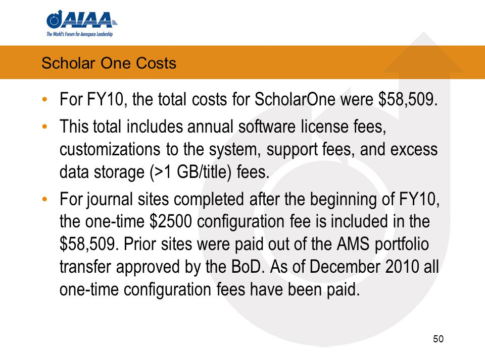 Scholar One Costs For FY10, the total costs for ScholarOne were $58,509. This total includes annual software license fees, customizations to the syste
