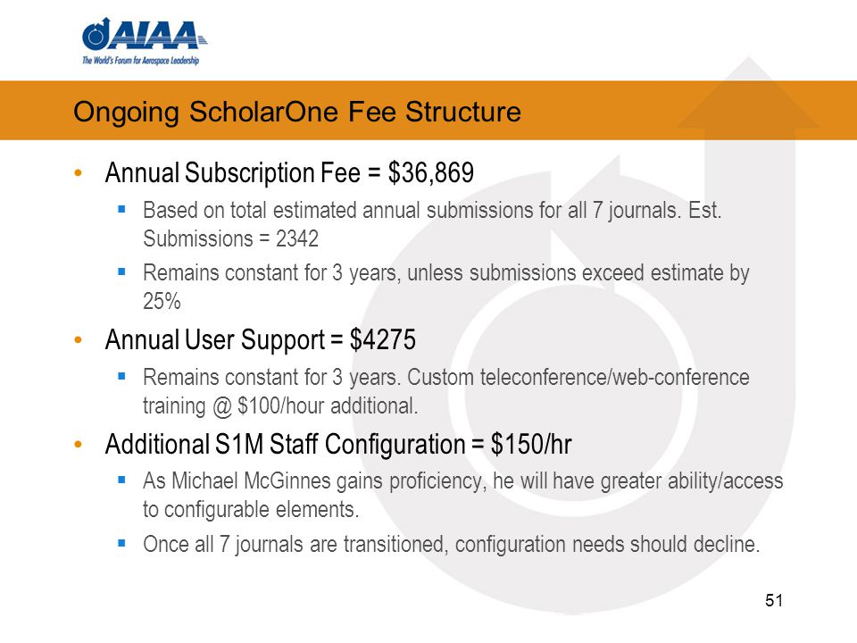 Ongoing ScholarOne Fee Structure Annual Subscription Fee = $36,869  Based on total estimated annual submissions for all 7 journals. Est. Submissions