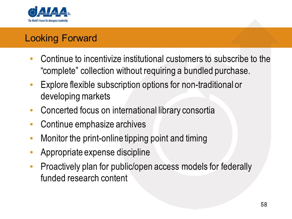58 Looking Forward Continue to incentivize institutional customers to subscribe to the complete collection without requiring a bundled purchase.