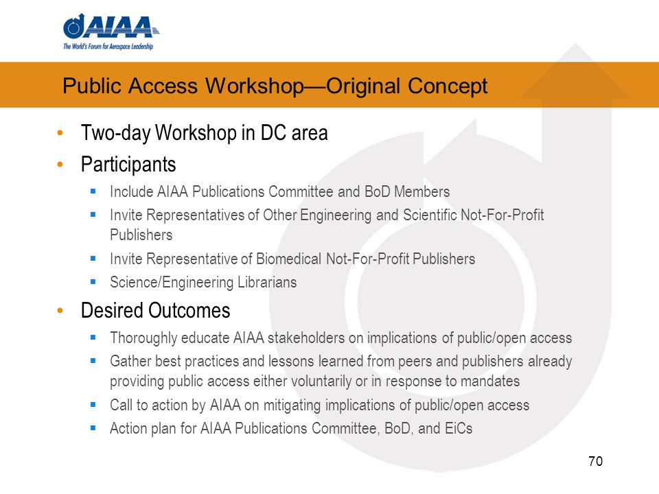 Public Access Workshop—Original Concept Two-day Workshop in DC area Participants  Include AIAA Publications Committee and BoD Members  Invite Representatives of Other Engineering and Scientific Not-For-Profit Publishers  Invite Representative of Biomedical Not-For-Profit Publishers  Science/Engineering Librarians Desired Outcomes  Thoroughly educate AIAA stakeholders on implications of public/open access  Gather best practices and lessons learned from peers and publishers already providing public access either voluntarily or in response to mandates  Call to action by AIAA on mitigating implications of public/open access  Action plan for AIAA Publications Committee, BoD, and EiCs 70
