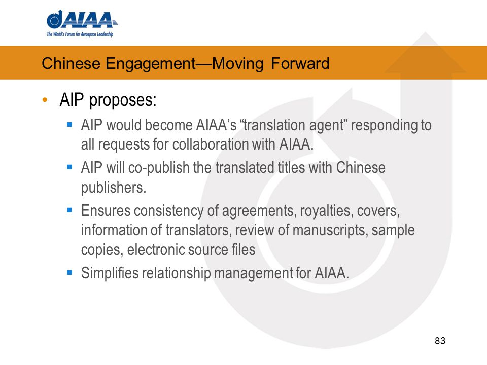 "Chinese Engagement—Moving Forward AIP proposes:  AIP would become AIAA's ""translation agent"" responding to all requests for collaboration with AIAA."