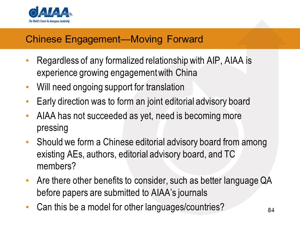 Chinese Engagement—Moving Forward Regardless of any formalized relationship with AIP, AIAA is experience growing engagement with China Will need ongoing support for translation Early direction was to form an joint editorial advisory board AIAA has not succeeded as yet, need is becoming more pressing Should we form a Chinese editorial advisory board from among existing AEs, authors, editorial advisory board, and TC members.