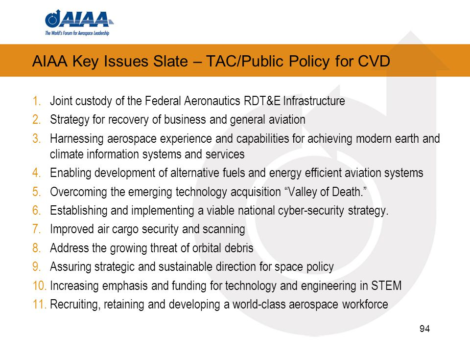AIAA Key Issues Slate – TAC/Public Policy for CVD 1.Joint custody of the Federal Aeronautics RDT&E Infrastructure 2.Strategy for recovery of business