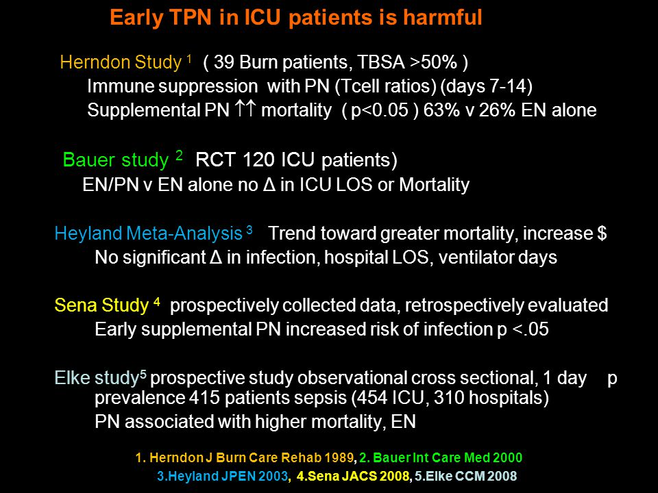 Early PN is Harmful in ICU patients Herndon Study 1 ( 39 Burn patients, TBSA >50% ) Immune suppression with PN (Tcell ratios) (days 7-14) Supplemental PN  mortality ( p<0.05 ) 63% v 26% EN alone Bauer study 2 (RCT 120 ICU patients) EN/PN v EN alone no Δ in ICU LOS or Mortality Heyland Meta-Analysis 3 : Trend toward greater mortality, increase $ No significant Δ in infection, hospital LOS, ventilator days Sena Study 4 : prospectively collected data, retrospectively evaluated Early supplemental PN increased risk of infection p <.05 Elke study 5 prospective study observational cross sectional, 1 day p prevalence 415 patients sepsis (454 ICU, 310 hospitals) PN associated with higher mortality, EN lowest mortality 1.