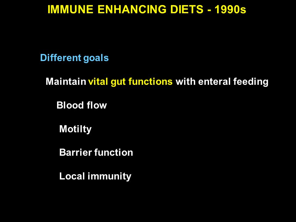 Nutrition 1990 Ann Surg 1992 JPEN 1990 Different goals Maintain vital gut functions with enteral feeding Blood flow Motilty Barrier function Local imm
