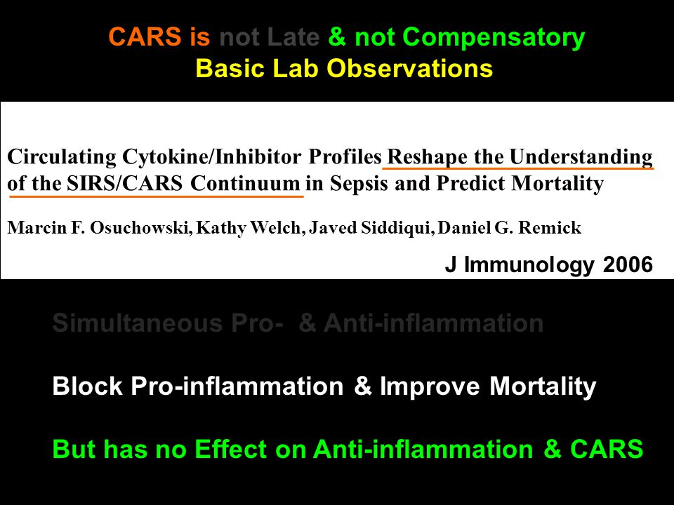 Circulating Cytokine/Inhibitor Profiles Reshape the Understanding of the SIRS/CARS Continuum in Sepsis and Predict Mortality Marcin F.