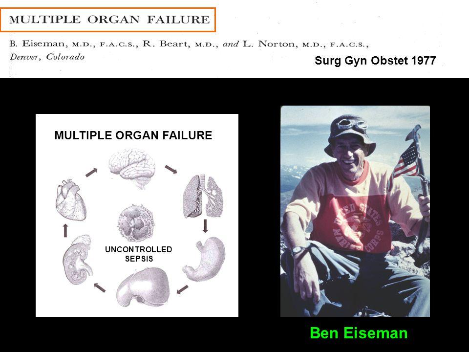 Denver General Hospital Surg Gyn Obstet 1977 Pick a Topic INFECTION Ben Eiseman MULTIPLE ORGAN FAILURE UNCONTROLLED SEPSIS Ben Eiseman