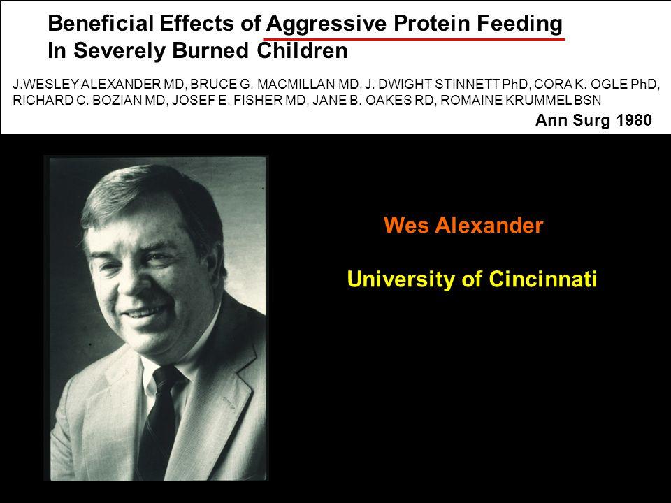 Wes Alexander University of Cincinnati J.WESLEY ALEXANDER MD, BRUCE G.