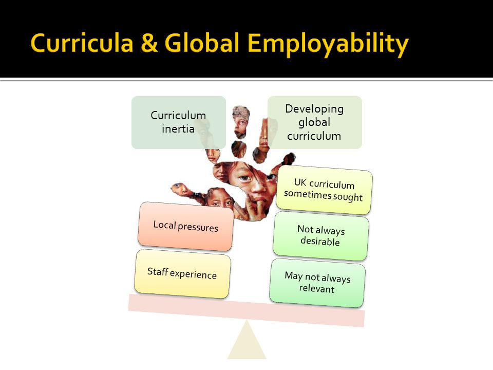 Curriculum inertia Developing global curriculum May not always relevant Not always desirable UK curriculum sometimes sought Staff experienceLocal pressures