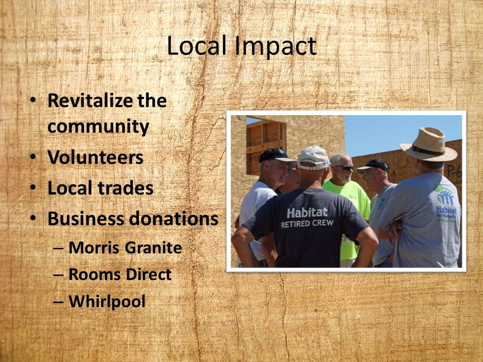Local Impact Revitalize the community Volunteers Local trades Business donations – Morris Granite – Rooms Direct – Whirlpool