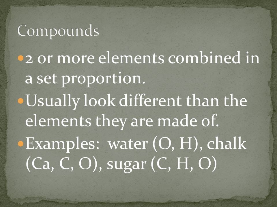 2 or more elements combined in a set proportion.