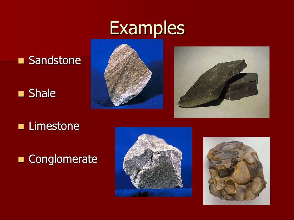 Examples Sandstone Shale Limestone Conglomerate
