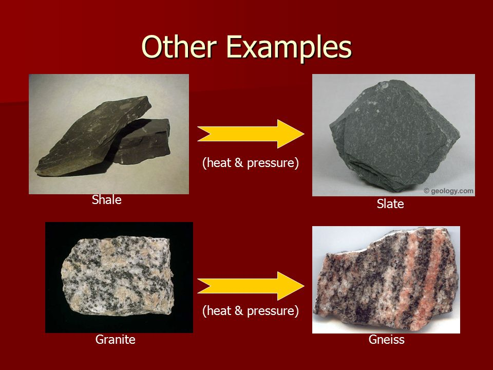 Other Examples Shale (heat & pressure) Slate (heat & pressure) GraniteGneiss