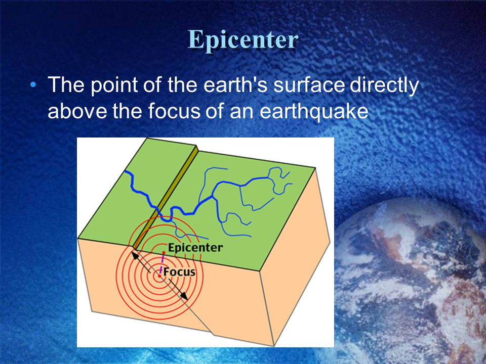 Epicenter The point of the earth s surface directly above the focus of an earthquake
