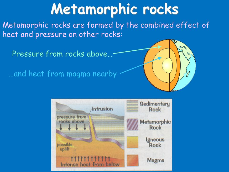 Metamorphic rocks Metamorphic rocks are formed by the combined effect of heat and pressure on other rocks: Pressure from rocks above… …and heat from magma nearby
